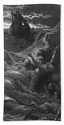 The Mariner As His Ship Is Sinking Sees The Boat With The Hermit And Pilot Beach Towel by Gustave Dore