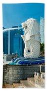 The Merlion  Fountain - Singapore. Beach Towel