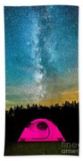 The Midnight Camper Pink Tent Beach Towel