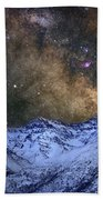 The Milky Way Over The High Mountains Beach Towel