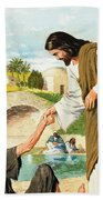 The Miracles Of Jesus  Making The Lame Man Walk Beach Towel