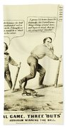 The National Game - Abraham Lincoln Plays Baseball Beach Towel