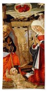 The Nativity With The Annunciation To The Shepherds In The Distance Beach Towel