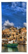 the old Jaffa port Beach Towel by Ron Shoshani