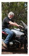 The Old Man On The Motorcycle Beach Towel