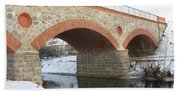 The Old Railway Bridge In Silute. Lithuania. Winter Beach Towel