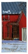 The Old Red Barn In Winter Beach Towel