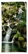 The Old Troll Caught By The Sun Admiring The Forest Waterfall Beach Towel