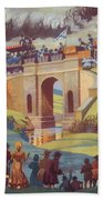 The Opening Of The Stockton And Darlington Railway Macmillan Poster Beach Towel by Norman Howard
