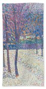 The Orchard Under The Snow  Beach Towel by Hippolyte Petitjean