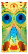 The Owl - Abstract Bird Art By Sharon Cummings Beach Towel