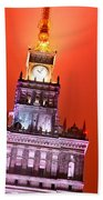 The Palace Of Culture And Science Warsaw Poland  Beach Towel by Michal Bednarek