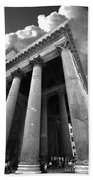 The Pantheon In Rome Bw Beach Towel