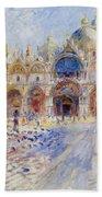 The Piazza San Marco Beach Towel by Pierre Auguste Renoir