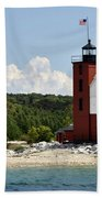 Round Island Lighthouse Mackinac The Picnic Spot Beach Towel