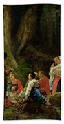 The Pilgrims From The Abbey Of St. Odile Oil On Canvas Beach Towel