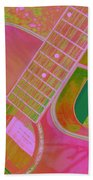 My Pink Guitar Pop Art Beach Towel