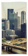 The Pittsburgh Skyline Beach Towel by Lisa Russo