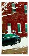The Point Pointe St Charles Snowy Walk Past Red Brick House Winter City Scene Carole Spandau Beach Towel