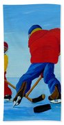 The Pond Hockey Game Beach Towel