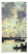 The Port Beach Towel by Eugene Louis Boudin