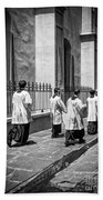 The Procession - Black And White Beach Towel