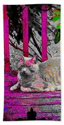 The Psychedelic Cat Beach Towel