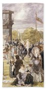 The Races At Longchamp In 1874 Beach Towel