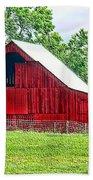 The Red Barn - Featured In Old Buildings And Ruins Group Beach Sheet