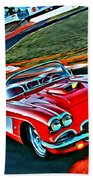 The Red Corvette Beach Towel