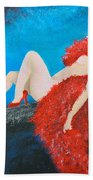 The Red Feather Boa Beach Towel