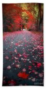 The Red Leaf Beach Towel