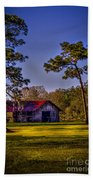 The Red Roof Barn Beach Towel by Marvin Spates