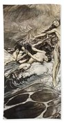 The Rhinemaidens Obtain Possession Of The Ring And Bear It Off In Triumph Beach Towel by Arthur Rackham
