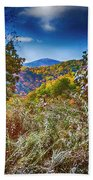 The Road To Cataloochee On A Frosty Fall Morning Beach Towel