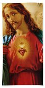 The Sacred Heart Of Jesus Beach Towel