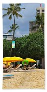 The Scene At Waikiki Beach Beach Towel