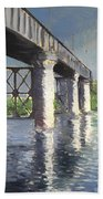 The Seine And Railroad Bridge At Argenteuil Beach Towel