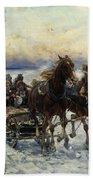 The Sleigh Ride Beach Towel by Alfred von Wierusz Kowalski