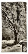The Snow Tree - Sepia Antique Look Beach Towel