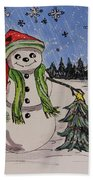The Snowman's Tree Beach Towel