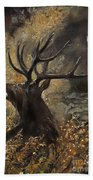 the Stag sitting in the grass oil painting Beach Towel