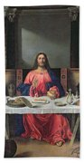 The Supper At Emmaus Beach Towel by Vittore Carpaccio