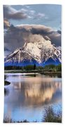 The Tetons From Oxbow Bend Beach Towel