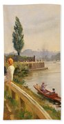 The Thames At Hampton Court Beach Towel