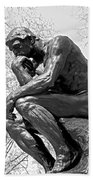 The Thinker In Black And White Beach Towel