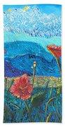 The Three Poppies Beach Towel