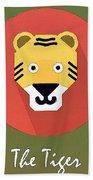 The Tiger Cute Portrait Beach Towel