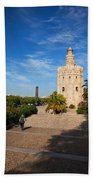 The Torre Del Oro, Gold Tower, Military Beach Towel