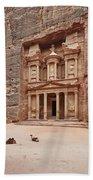 the treasury Nabataean ancient town Petra Beach Towel